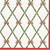 Garland Trellis Natale Caspari tovaglioli 25cm quadrato 3Ply Natale Tovaglioli