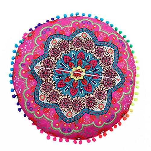 Cojines indio Mandala piso almohadas redondas de almohadas de cojín bohemio cubierta funda By LMMVP (43*43cm/(17.0*17.0'), B)