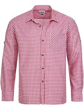Gaudi-Leathers Herren Trachtenhemd mit krempelbaren Ärmeln Pink Weiß Kariert für Oktoberfest