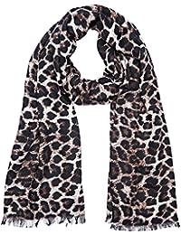 Guess Devyn, Bufanda para Mujer, Multicolor (Leopard), Talla Única