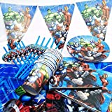 82pc / set Festa di compleanno Forniture Tavola Decorazione Tovaglia Piatto Tazza Tovagliolo Paglia Bandiera Coltello Forchetta Cucchiaio