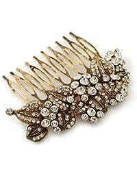 Retro inspirada en suite/boda/diseño de vestido de fiesta/de cristal austríaco de fiesta ' hojas y flores' peine en Metal dorado antiguo - 80 mm