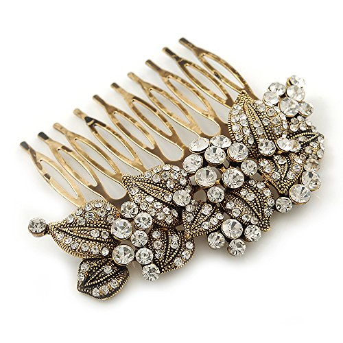 Vintage Inspired Bridal/ Wedding/ Prom/ Party Austrian Clear Crystal 'Leaves & Flowers' Hair Comb In Antique Gold Metal - 80mm