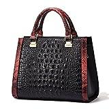QI WANG Frauen-echtes Leder-Designer-Handtaschen-Krokodil-Top-Griff Taschen Abend Schulranzen Schultertaschen