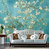 Ohcde Dheark Im Europäischen Stil Retro Weiß Blumen Foto Tapete Wohnzimmer Schlafzimmer Fernseher Sofa Hintergrund Wand Home Decor 3D Wandbild 250Cmx175Cm(98.4 By 68.9 In )