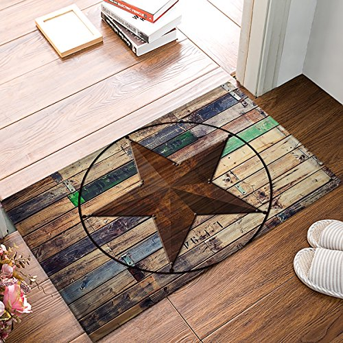 Holz Outdoor-teppich (Rustikal Vintage Texas Star Barn Holz Fußmatte Fußmatte Teppich Outdoor/Indoor, für Zuhause/Büro/Schlafzimmer 23.6 x 15.7 Non-Woven Fabric)