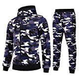 AIRAVATA Herren Mode Workout Trainingsanzug Zip Up Camo Hoodies mit Jogger Hosen Set