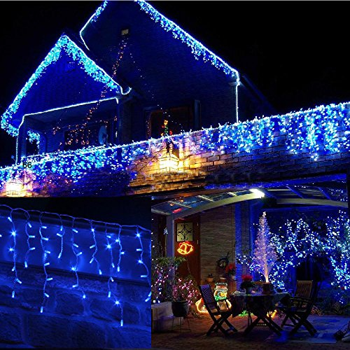 jndee safe voltage fully weatherproof icicle christmas fairy lights blue 400 led 10m wide 80
