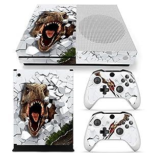 46 North Design Xbox One S Folie Skin Sticker Konsole T-Rex aus Vinyl-Folie Aufkleber Und 2 x Controller folie & Kinect…