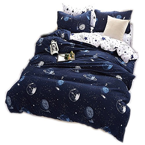 CHAOSE Funda nórdica Ropa de Cama Star Wars Space Moon Series Three Sets(140×210- Cama de 90CM)