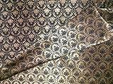 Wende Brokat-Stoff schwarz X Gold 142,2cm bro563[1]