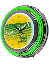 NBA Seattle SuperSonics Chrome Neon Clock, One Size, Chrome by Trademark Gameroom