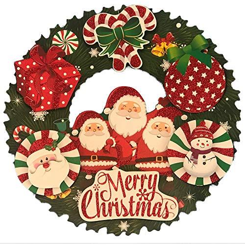 ODJOY-FAN Weihnachten Glas Tür Fenster Aufkleber Kranz Weihnachten Dekor Wand Aufkleber Fröhlich Weihnachten Girlande Wand Wandbilder 36 x 36 cm(B,1 PC)