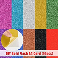 DUMGRN 10Pcs A4 Glitter Sheets, Self Adhesive Glitter Sticker Paper DIY Embossed Card for Kids Arts & Crafts, Scrapbooking Decoration