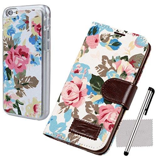 xhorizon® Retro Luxuriös Blume Flip PU Leder Tasche Portemonnaie Stehend Hülle Case für iPhone 6 4.7 Inch Weiß +Floralen Stil Hartplastik-Hülle Schale w/Stylus Reinigungstuch Weiß