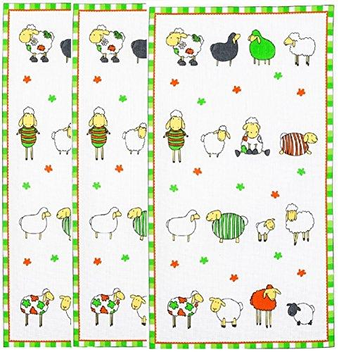 Geschirrtuch Baumwolle 3-er Pack Bunte Schafe Größe: 45/70