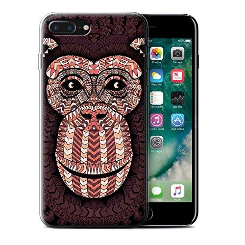 Stuff4 Gel TPU Hülle / Case für Apple iPhone X/10 / Tiger-Rot Muster / Aztec Tier Muster Kollektion Affe-Rot