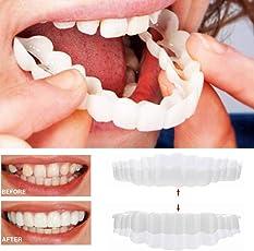 Zähne Prothese Zähne Kosmetik 1 Paar Temporär Lächeln Komfort Fit KosmetikAufkleber Teeth Denture Teeth Cosmetic (Weiß)