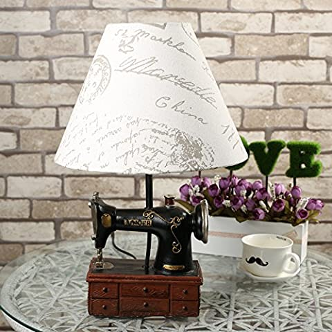 SBWYLT-Europei retro ornamenti creativi ha portato una lettura lampada fonografo camera da letto sul comodino