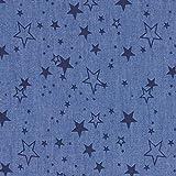 Fabulous Fabrics Jeansstoff Chambray Sterne - Jeansblau -