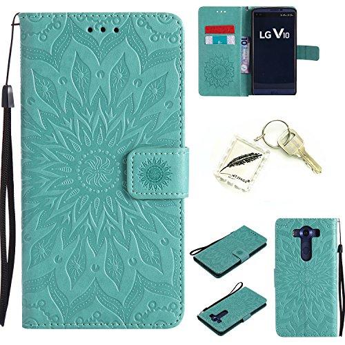 Preisvergleich Produktbild Silikonsoftshell PU Hülle für LG V10 (5,7 Zoll) Tasche Schutz Hülle Case Cover Etui Strass Schutz schutzhülle Bumper Schale Silicone case+Exquisite key chain X1) #AD (2)