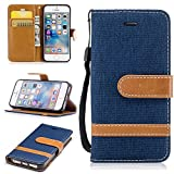 iphone SE 5 5S Case Leather [Wallet Case], COZY HUT Elegant Cowboy Patterned Embossing PU Leather Stand Function Protective Cases Covers with Card Slot Holder Wallet Book Design Fordable Strap Case for iphone SE 5 5S - Dark blue cowboy