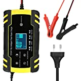 KKmoon Caricatore per Batteria Auto, Caricabatterie per Auto Moto 12 V/24 V, 8 A, Automatico Intelligente, 3 Stazioni, con Sc