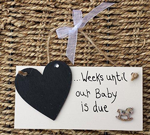 Personalizzato countdown New Baby Pregnancy 'Cavallo in legno' Plaque Sign Baby (Congratulazioni Nuovo Bambino)