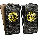 Apple iPhone 7 Plus Tasche Schutz Hülle Walletcase Bookstyle Borussia Dortmund BVB Holzoptik