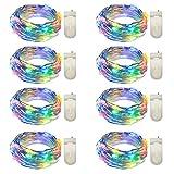 Yasolote 8 Pezzi Filo Luci Led Micro 3M 30 LED Luce Stringa con Filo di Rame Catene Luminose per Decorazione Natale Gardino Catena Luminosa per Interno ed Esterno (Colori)