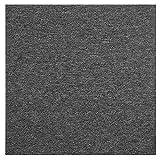 Carreaux de moquette 50 x 50 cm, 20 pièces de carrelage de sol robuste pour toutes les pièces de la maison, du bureau à la chambre, carrés antidérapants gris foncé...