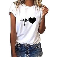 Voqeen T-Shirt Donna Maniche Corte Maglietta Manica Corta Tee Camicetta Casual Camicia Ragazza Stampa Top Moda Loose…