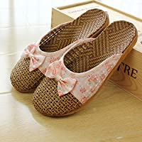 fankou Ms. Summer Baotou Male Couples Room Floor Muted Anti-Slip Home Stay with a Cool Slippers,37-38, Pink