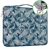 HSEOK 15,6 Zoll Aktentasche Laptop Handtasche Hülle Tasche, Jacquard Sleeve für die meisten 15-15,6 Zoll Notebooks UltraBook, Blauer Boden - silberner Jacquard
