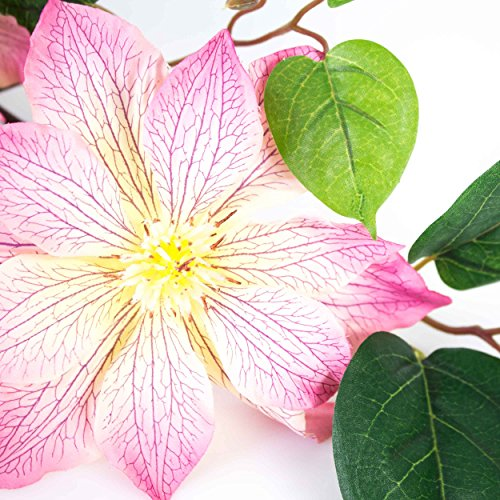 artplants – Deko Clematiszweig, pink, 83 cm – Kunstblumen/Clematis künstlich