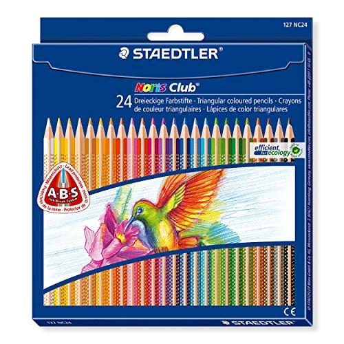 Staedtler Noris Club 127 NC24 Buntstifte, erhöhte Bruchfestigkeit, dreikant, Set mit 24 brillanten Farben, kindgerecht nach DIN EN71, umweltfreundliches PEFC-Holz