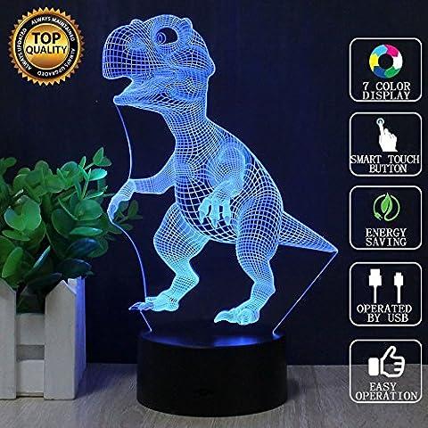 lampe d'illusion optique 3d dinosaure led night lights, FZAI toucher table lampe de bureau décoration d'intérieur 7 couleurs effets lumineux uniques pour des gamins