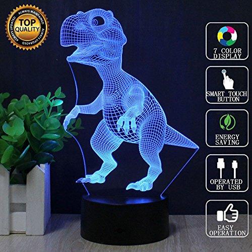 FZAI Dinosaurier Touch 3D LED-Nachtlicht 7 Farben Schreibtisch Optische Illusions-Lampen mit 150cm USB-Kabel zum Kinder Weihnachtsgeschenk Haus (Leopard Dekorationen Party)