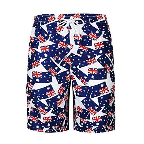 Occitop Hawaiian Men Cotton Australian Flag Print Tropical Beach Surf Board Shorts