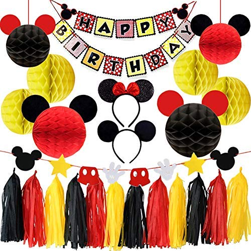 ey Mouse Party Dekorationen Mickey Themed Stirnband Honeycomb Balls Quaste Garland Geburtstag Banner für Mickey Mouse Farbe Party Supplies ()