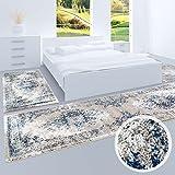 Bettumrandung Flachflor-Teppich Klassisch Ornamente Schlafzimmer Läufer 2x 80x150 cm und 1x 80x300 cm- Gabeh Beige/Weiß