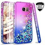 LeYi Hülle Galaxy S7 Edge Glitzer Handyhülle mit Full Cover 3D PET Schutzfolie(2 Stück),Diamond Rhinestone Bumper Schutzhülle für Case Samsung Galaxy S7 Edge Handy Hüllen ZX Gradient Purple Blue