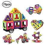76 PCS Mini Magnetic Tiles Building Blocks Set, DIY Creative STEM Building Block Preschool Educational Construction Kit...