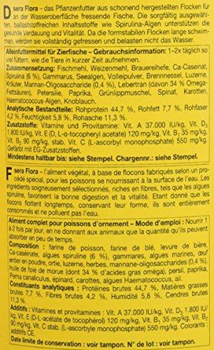 sera 00670 flora 1000 ml – Die Grünflocken mit viel Spirulina für lebendgebärende Zahnkarpfen, Malawi- und Tanganjika Cichliden im Süßwasser- und Meerwasseraquarium - 3