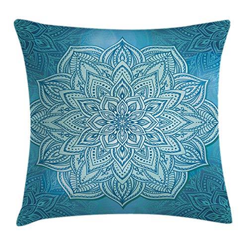 """gatetop Funda de cojín Bett1819 Mandala Throw Pillow Estilo Oriental Flor de Loto Diseño Zen Espiritual en Tonos Azules Funda de Almohada 18""""X 18"""" Azul pálido Azul y Turquesa"""