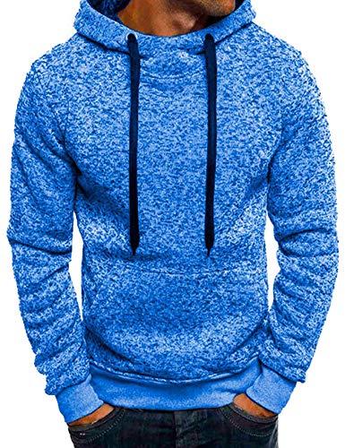 Jueshanzj - Otoño Sudadera con Capucha Tops para Hombre Azul XXXL