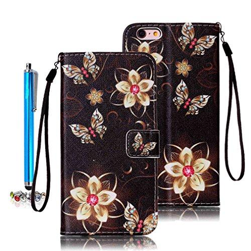 A9H iPhone 7 Wallet Tasche Hülle - Ledertasche im Bookstyle in Braun - [Ultra Slim][Card Slot][Handyhülle] Flip Wallet Case Etui für iPhone 7 -12A 06A
