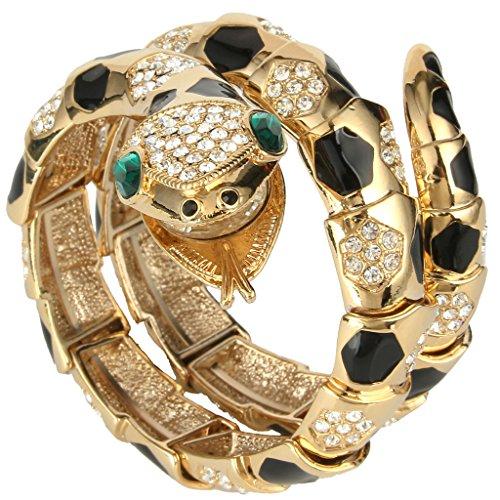 ever-faithr-plaque-or-clair-cristal-email-art-deco-serpent-bracelet-elastique-noir-n05783-2
