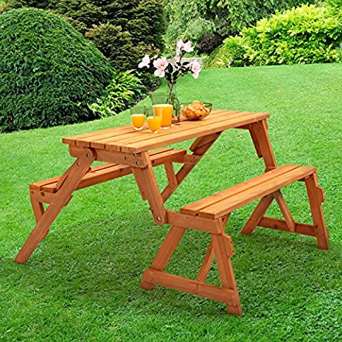 Trueshopping Modbury Two in One Convertible Garden Bench and Picnic Table Simple conversion from Bench to Table and benches with provision for parasol