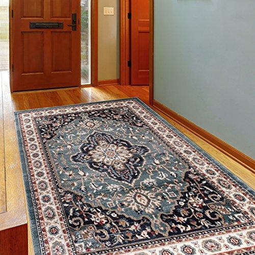 Alfombra Oriental Persa Diseño Clásico Azul Tamaño